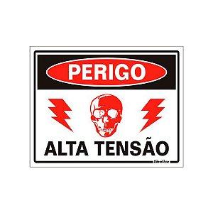 PLACA DE SINALIZAÇÃO POLIESTIRENO 15X20 - PERIGO ALTA TENSÃO