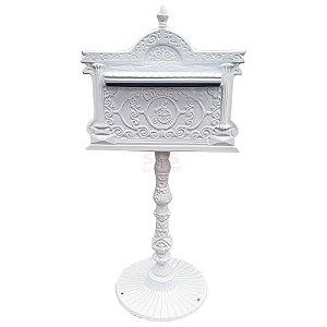 Caixa de Correio branca C/Pé Alumínio Fundido Condomínio