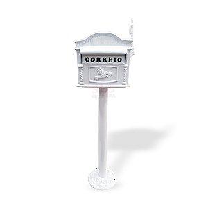 Caixa De Correio Americana branca C/Pé Alumínio Fundido Condomínio