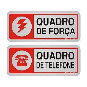 PLACA DE SINALIZAÇÃO 05x12 - QUADRO DE FORCA E FONE 2 PECAS