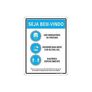 PLACA DE SINALIZAÇÃO 20X30 - SEJA BEM VINDO ORIENTAÇÕES OMS