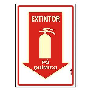 PLACA DE SINALIZAÇÃO PVC - EXTINTOR PÓ QUÍMICO FLUORESCENTE