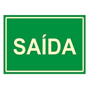 PLACA DE SINALIZAÇÃO PVC 20x30 - SAÍDA FLUORESCENTE