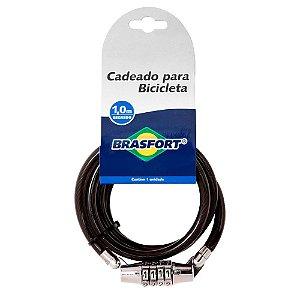 CADEADO BICICLETA BRASFORT COM SEGREDO 8MM x 1M