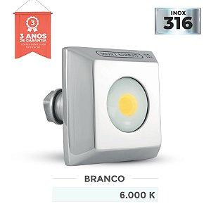 REFLETOR PARA PISCINA QUADRADO MONO - 10 W  6.000K BRANCO