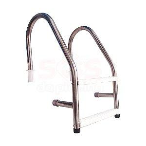 Escada para Piscina - Aço Inox 304 - 2 Degraus em ABS - MODELO CHANFRO