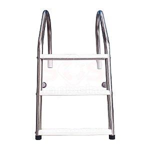 Escada para Piscina - Aço Inox 304 - 3 Degraus em ABS - MODELO CHANFRO