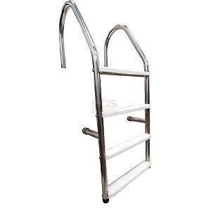 Escada para Piscina - Aço Inox 304 - 4 Degraus em ABS - MODELO CHANFRO