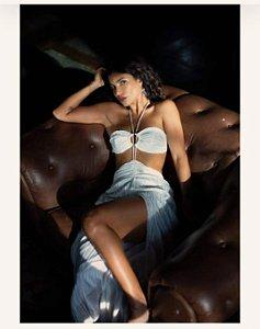 Vestido vazado off white (P) - Lara NOVO
