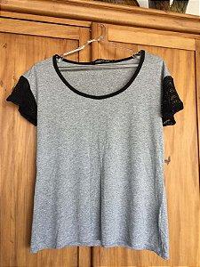 Blusa malha manga tela (P) - Shoulder