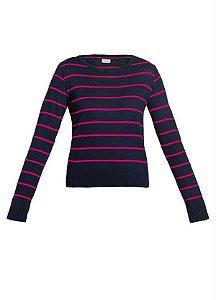 Blusa sueter rosa e marinho (P) - Quintess NOVA