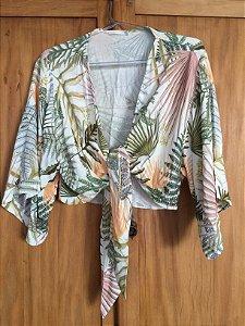 Blusa transpassada com top faixa (P) - Dree.to