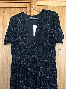 Vestido longo tule preto (G) - Amaro NOVO
