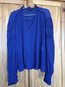 Camisa azul  plissado (M) - Amaro