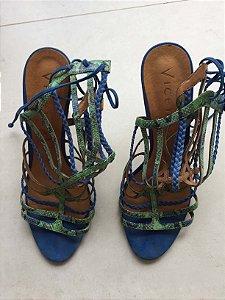 Sandália tiras azul e verde (37) - Vivenda