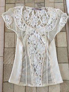 Blusa renda off white (36) - Animale