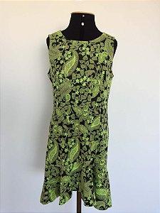 Vestido verde estampada (G) - Nice Club