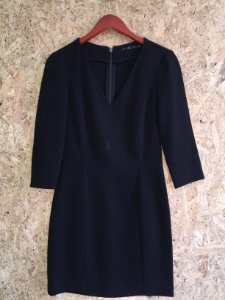 Vestido midi preto (M) - Zara
