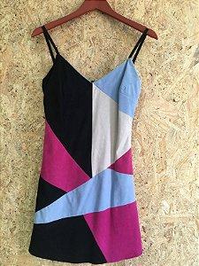 Vestido camurça patchwork (P) - Renata Campos