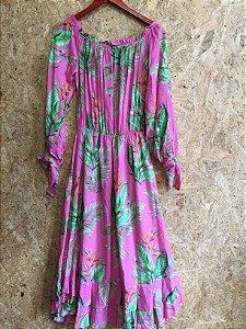 Vestido longo rosa ombro (P) - karin Feller