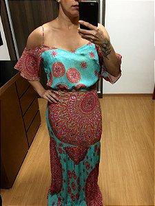 Vestido saia plissada (G) - Lafê