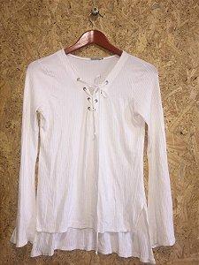 Blusa malha canelada off white (P) - Le Lis Blanc