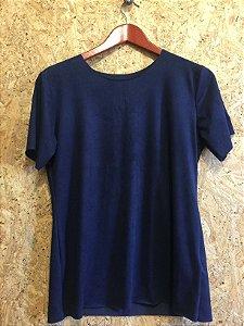 Conjunto suede blusa e calça flare azul  (M)