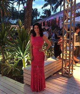 Vestido longo rosa (P) - Cecília Prado