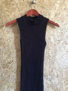 Vestido linha canelada preto (P)
