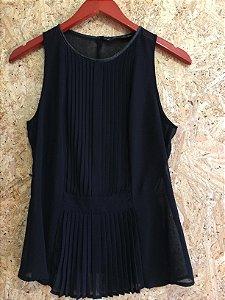 Blusa preta drapeada (P) - Zara