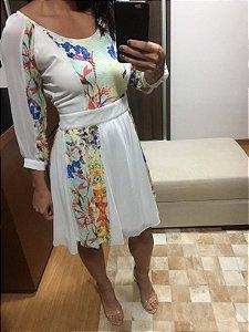 Vestido branco e cores (P) - Lafê