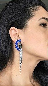 Brinco azul franjas - Aramez