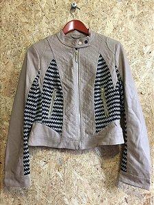 Jaqueta couro sintético detalhe tecido (G) - N.N