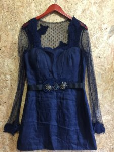 Vestido festa azul manga renda (G) - Vivaz