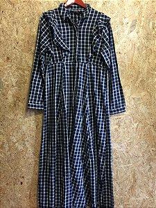 Vestido longo quadriculado (G) - Zara