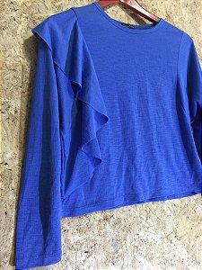 Blusa azul babados (P) - Zara
