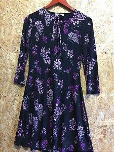 Vestido preto flores (P) - Mango Suit NOVO