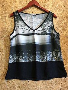 Camiseta preta natureza (M) - Glass