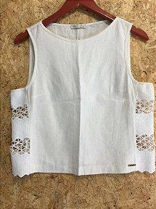 Conjunto linho renda cropped + saia (M) - Gloss Style
