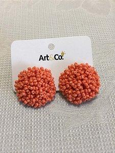 Brinco miçangas coral - Artco NOVO