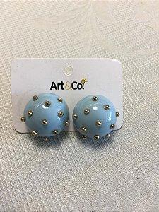Brinco resina bola azul com spikes dourados - Artco NOVO