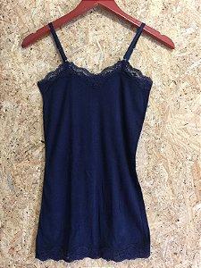 Camiseta canelada azul (P) - Le Lis Blanc