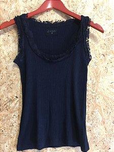 Camiseta canelada preta (P) - Iorane