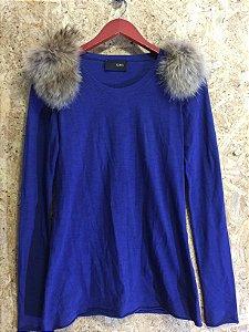 Blusa azul ombro de pele (P) - Andrea Bogosian I Black Gold