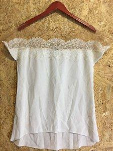 Blusa seda com renda nude (P) - Bo.Bô