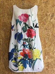 Vestido com flores  (M) - Carmim