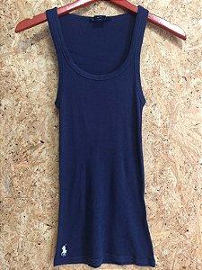 Camiseta marinho canelada (P) - Ralph Lauren