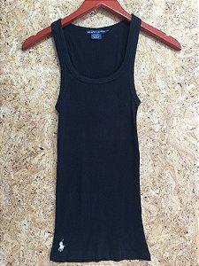 Camiseta preta canelada (P) - Ralph Lauren