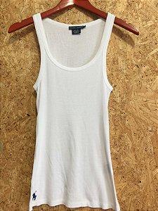 Camiseta branca canelada (P e PP) - Ralph Lauren
