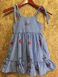 Vestido listrado bordado (2 anos) - BK Home NOVO